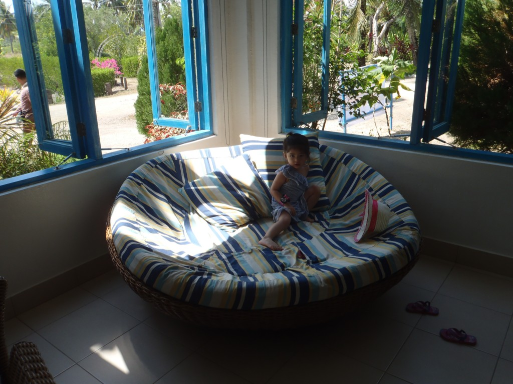 Baby Bagyo just loves that round sofa thingy.
