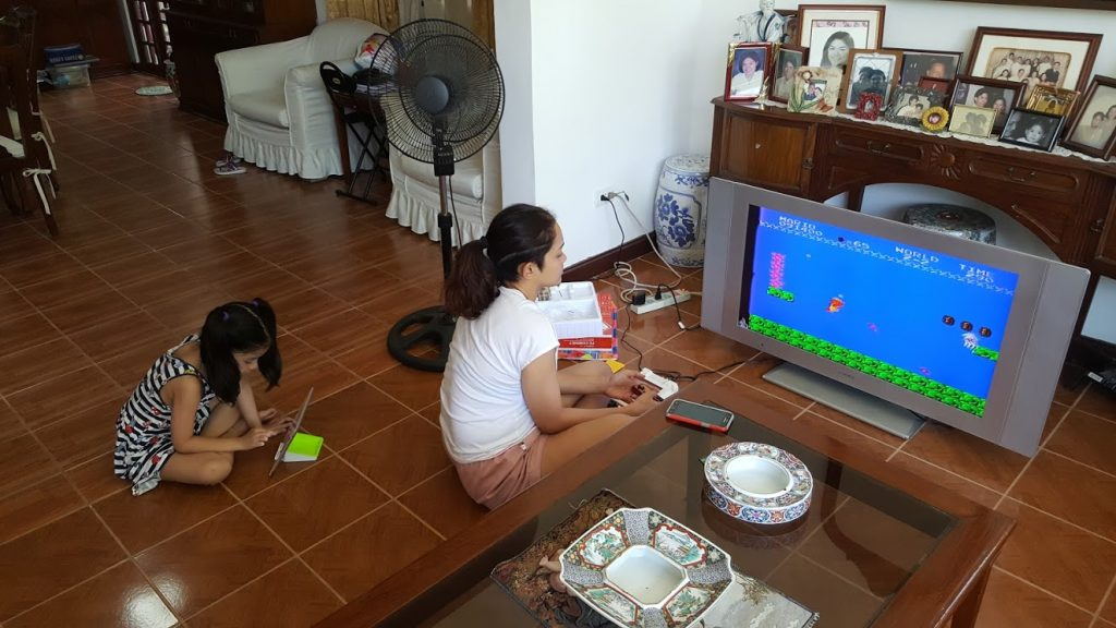 Baby, wife, and Super Mario